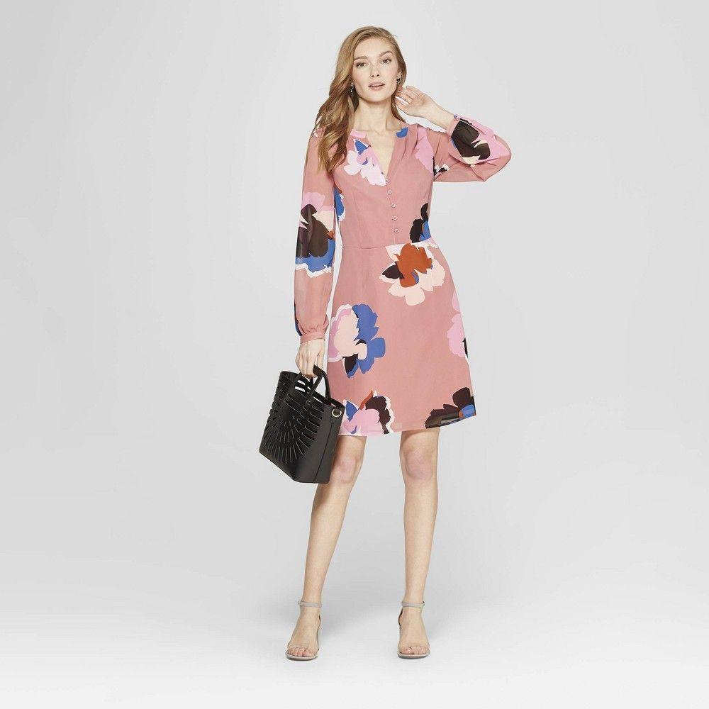 9510e0a5f95df Women s Floral Print Long Sleeve Chiffon Dress - A New Day Dark Pink ...