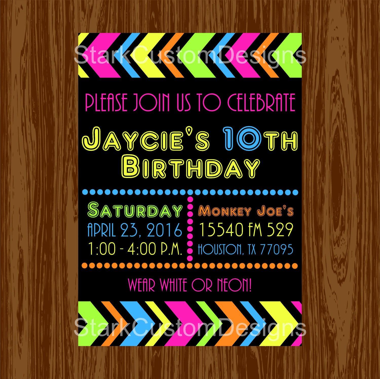 neon birthday party invitation glow in the dark digital party
