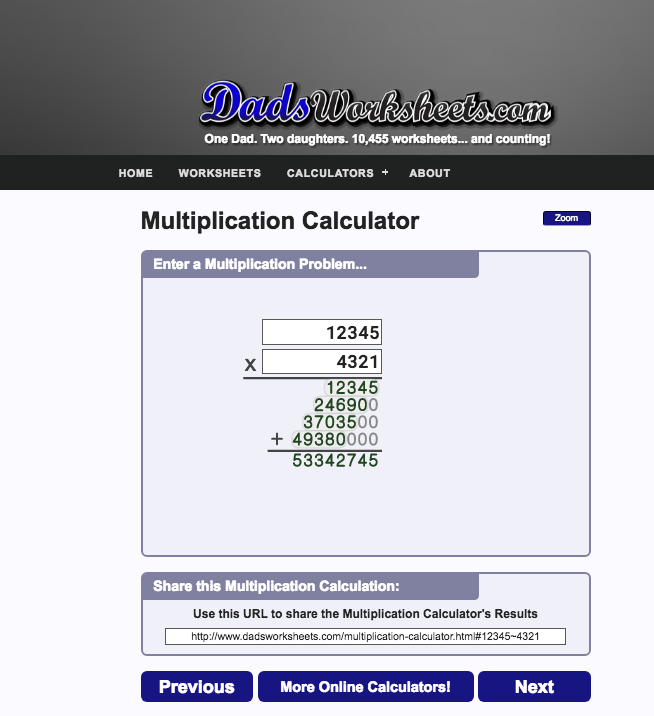 Our Multiplication Calculator Is A Big Help In Figuring Out The Steps For Longer Multi Digit Math Facts Addition Free Printable Math Worksheets Multiplication