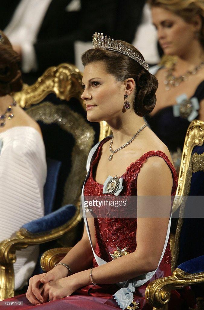 Swedish Crown Princess Victoria attends the Nobel Prize Awards ceremony in Stockholm, 10 December 2006. AFP PHOTO / SVEN NACKSTRAND