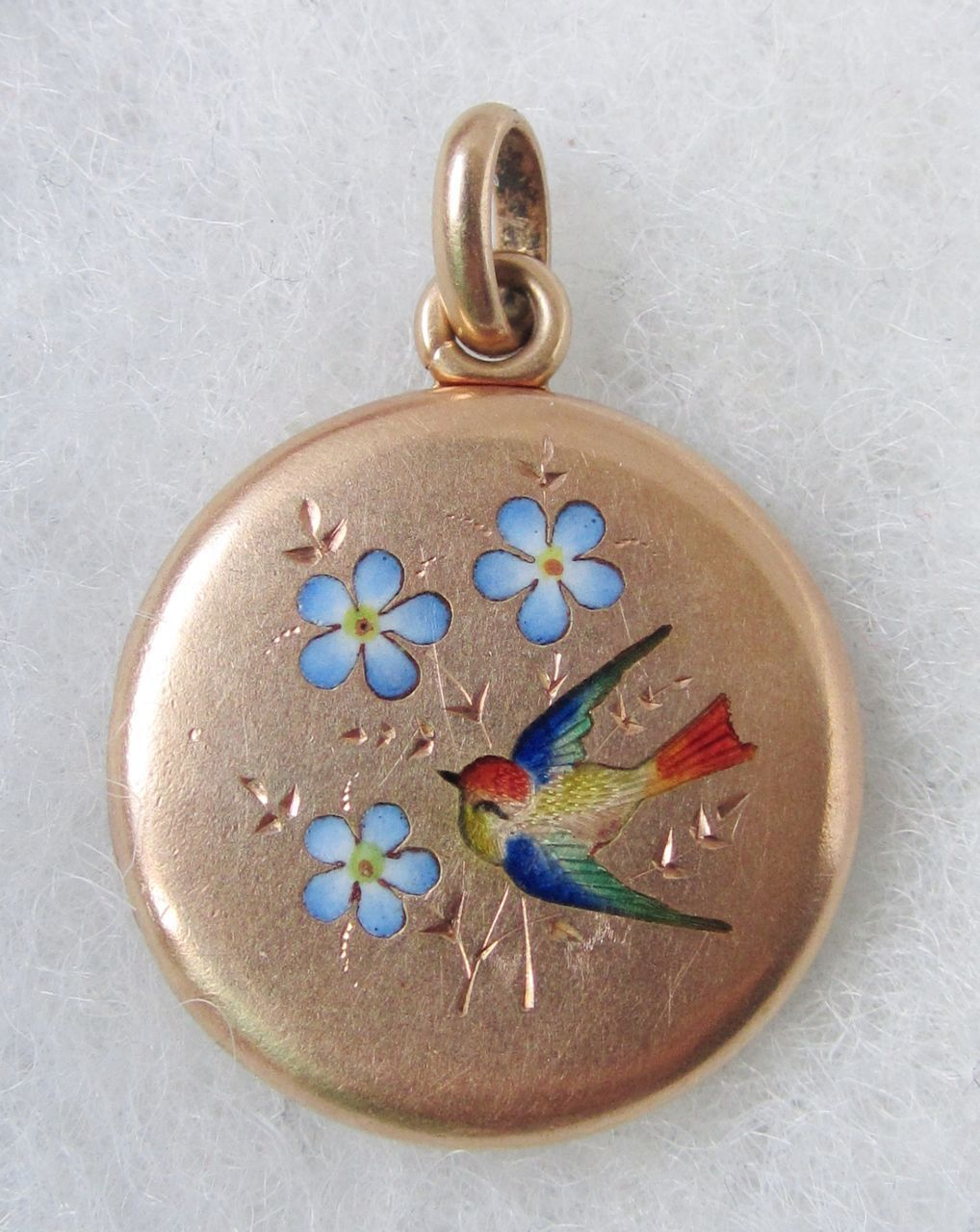 K solid gold french enamel bird u flower antique victorian locket