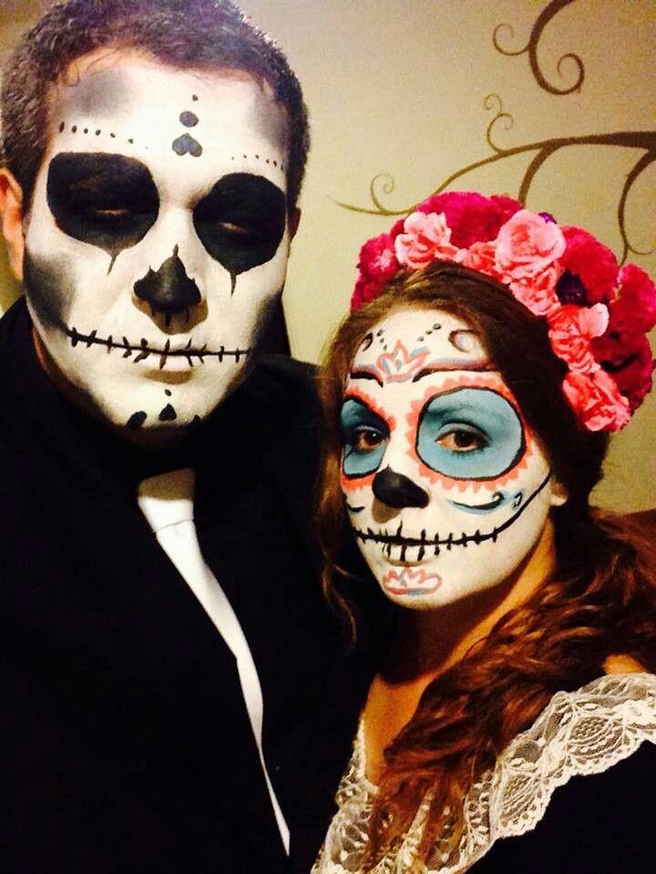 Scull Sugar Makeup Halloween Costume Couple Catrin Y Catrina