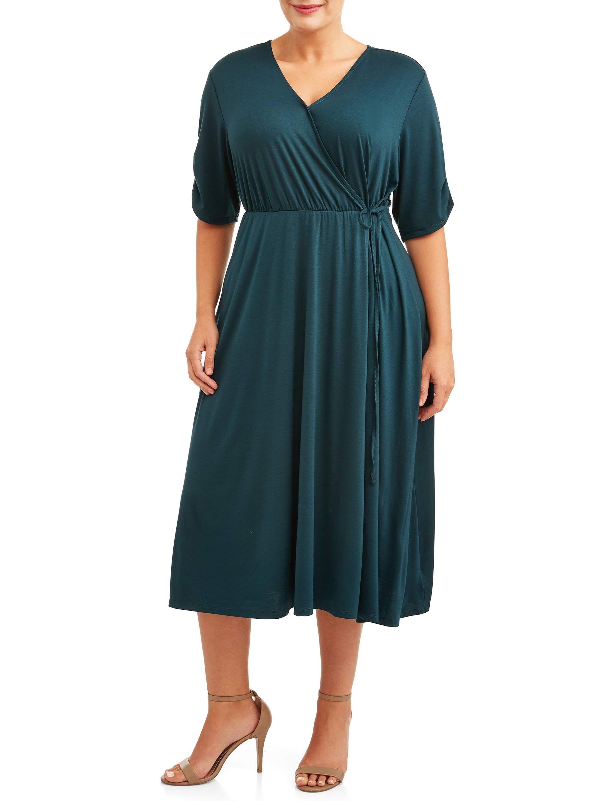 Terra Sky Terra Sky Women S Plus Size Midi Faux Wrap Dress Walmart Com Wrap Dress Faux Wrap Dress Dresses [ 2667 x 2000 Pixel ]
