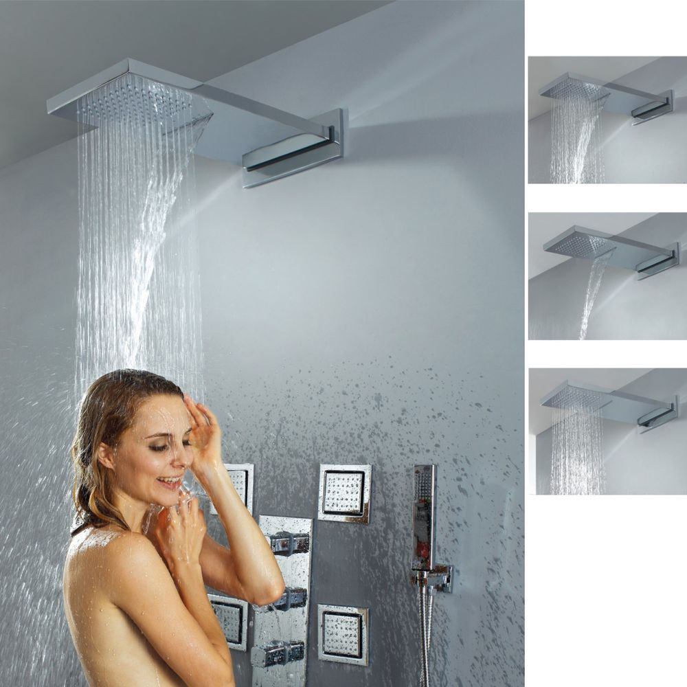 Modern bathroom wall mounted waterfall rain shower system for Body spray shower systems