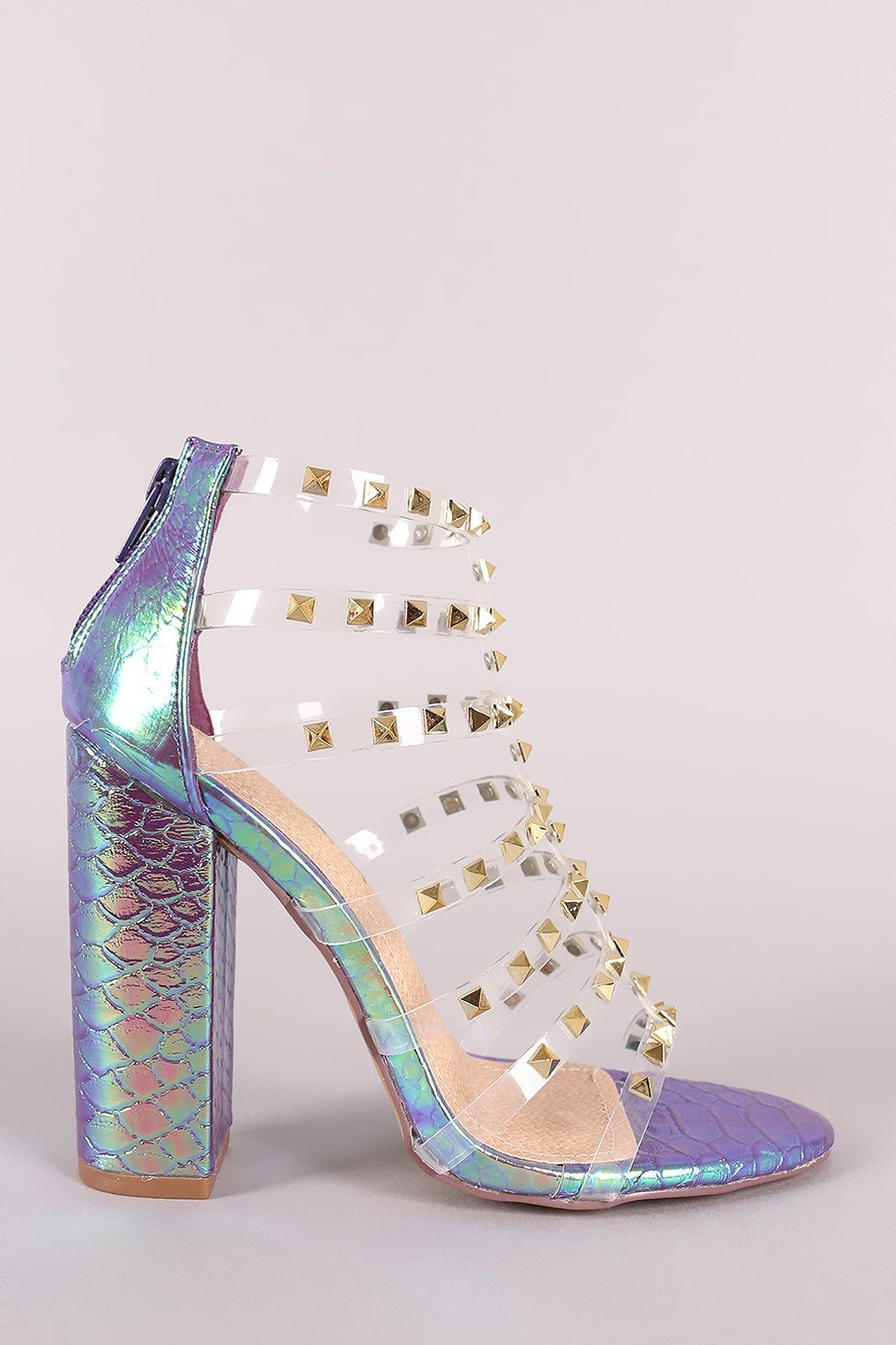 5efe516b548 Liliana Clear Studded Straps Holographic Chunky Heel
