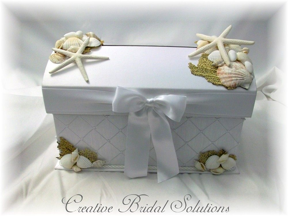 ideas for beach wedding party favors%0A White Seashell Treasure Chest Wedding Card Box