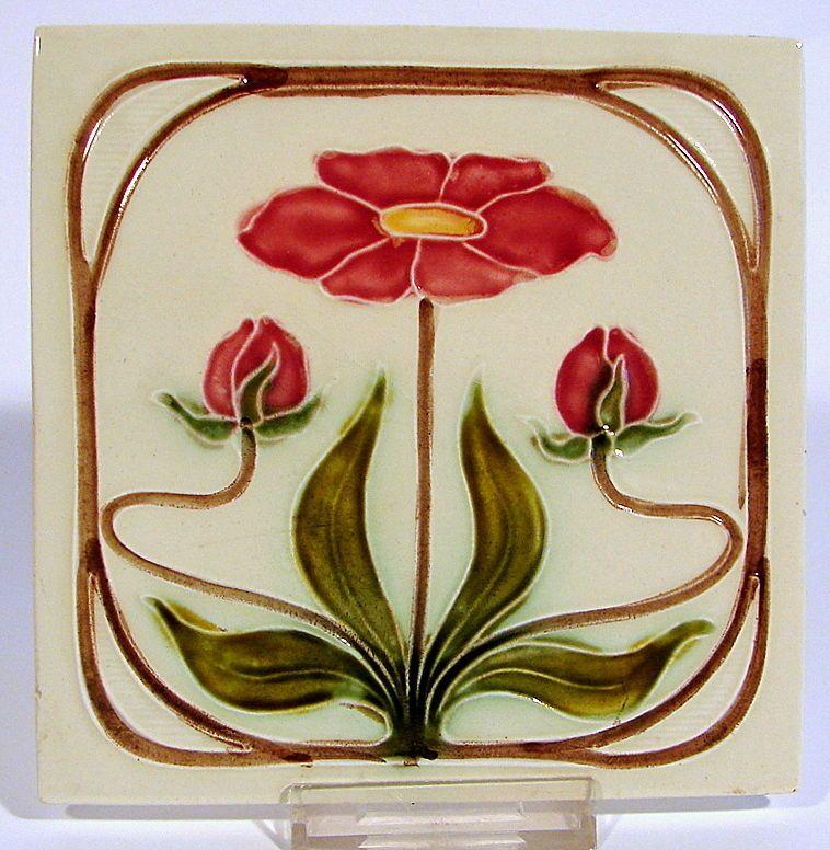 jugendstil fliese kachel georg schmider m belfliese tile tegel art nouveau 3 old tiles art. Black Bedroom Furniture Sets. Home Design Ideas