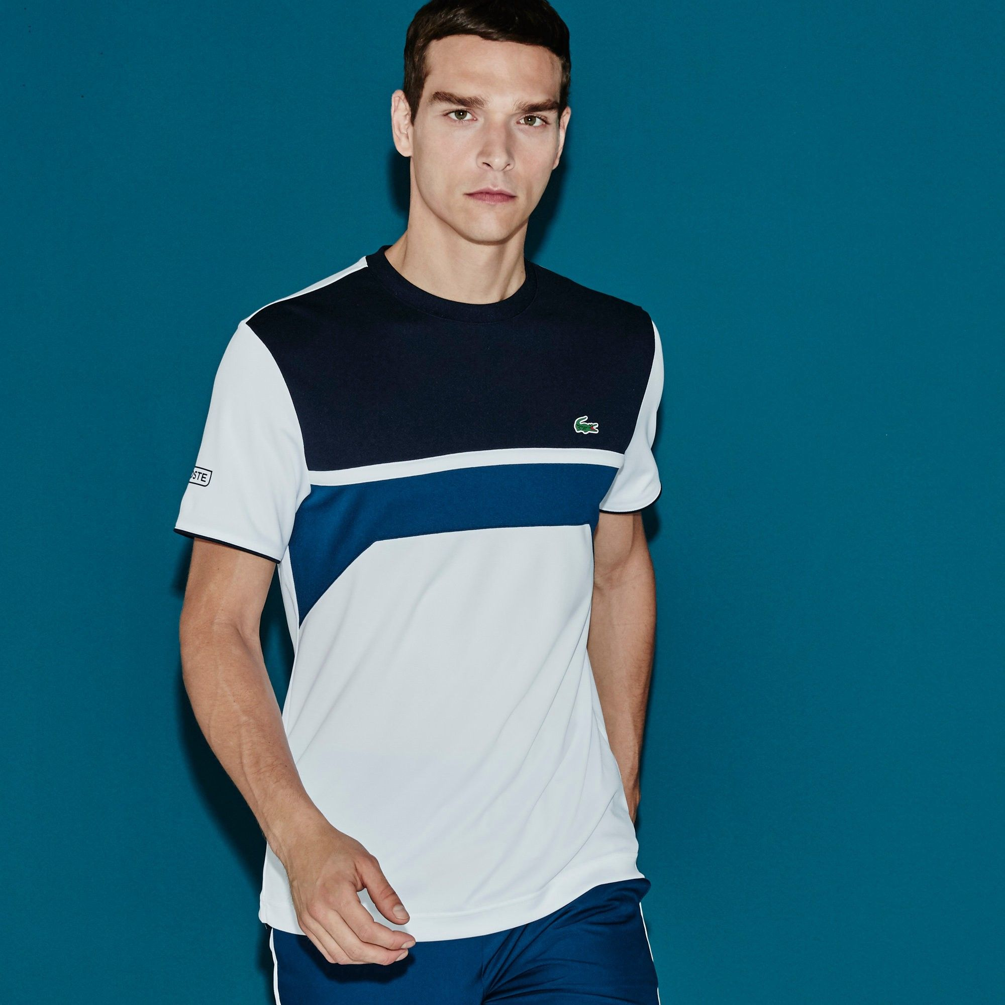 Lacoste Men S Sport Ultra Dry Chest Stripe Tennis T Shirt White Navy Blue Modesens Mens Casual Outfits Summer Lacoste Men Casual Wear For Men