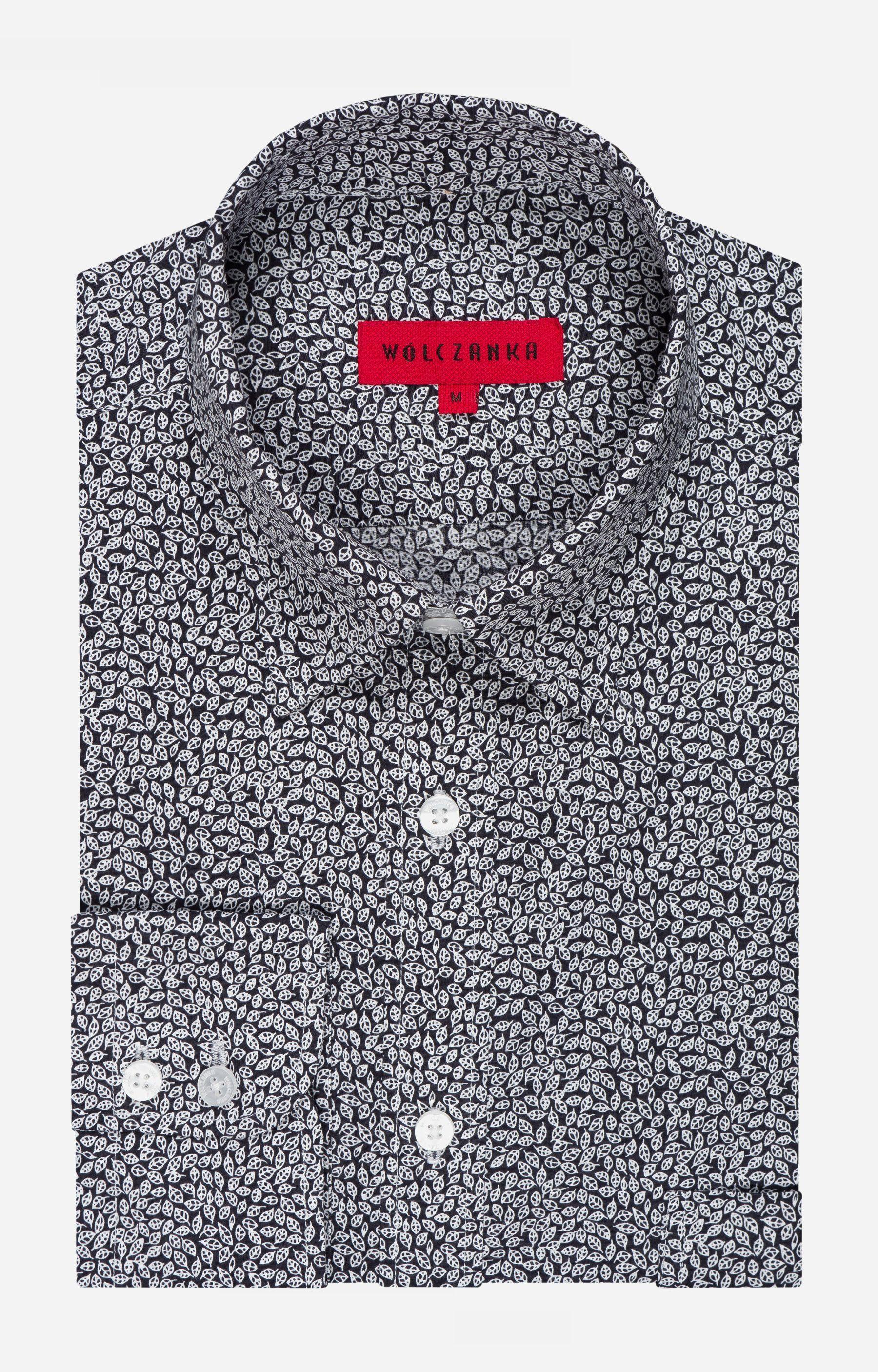 e51919e9cc3e36 Koszule we wzory - Czarna koszula męska WÓLCZANKA - AW75WL7606 - sklep  Wólczanka.pl