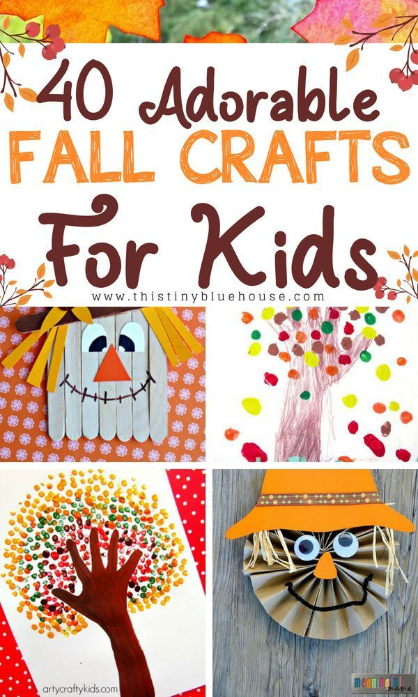 40 Crazy Easy Creative Fall Inspired Crafts For Kids  This Tiny Blue House is part of Easy fall crafts - 35+ Crazy Easy Fall Inspired Crafts For Kids! Get creative with these adorable and super easy fall inspired crafts for kids!
