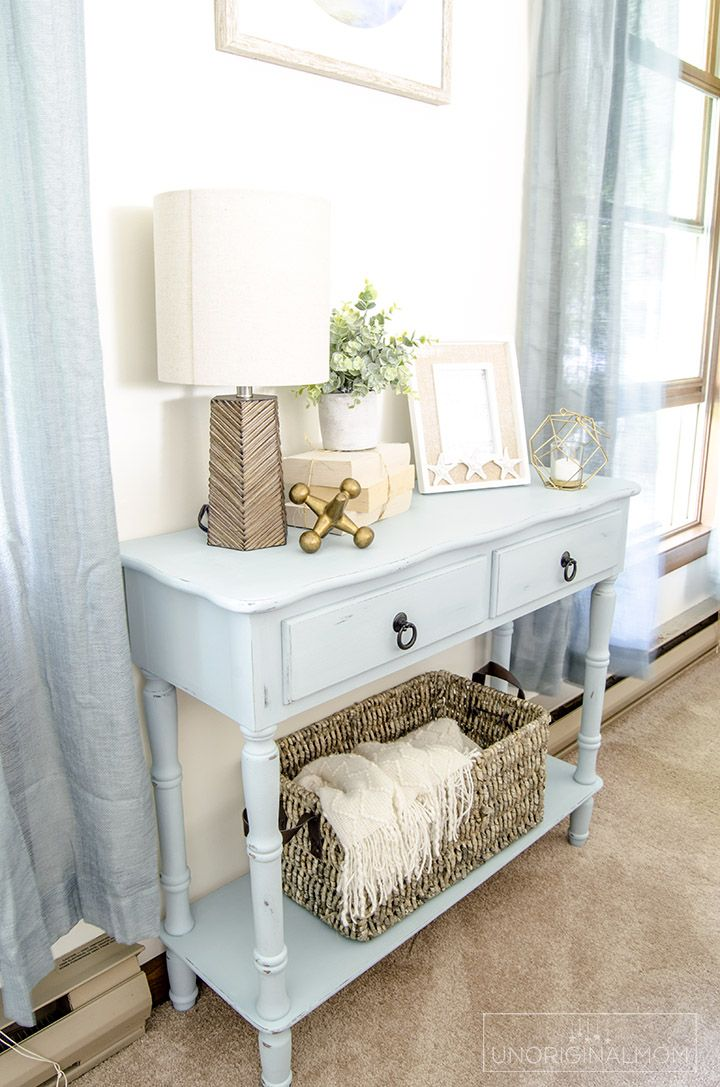Beautiful beachy blue side table makeover with