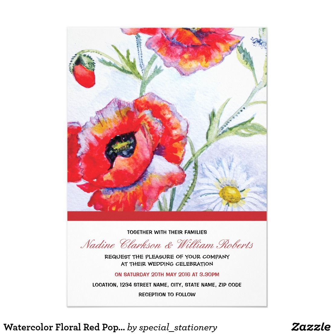 Watercolor Floral Red Poppy Flower Wedding | Romantic Floral Wedding ...