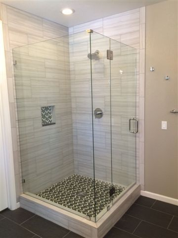 frameless shower corner unit with polished chrome hardware prl rh pinterest com