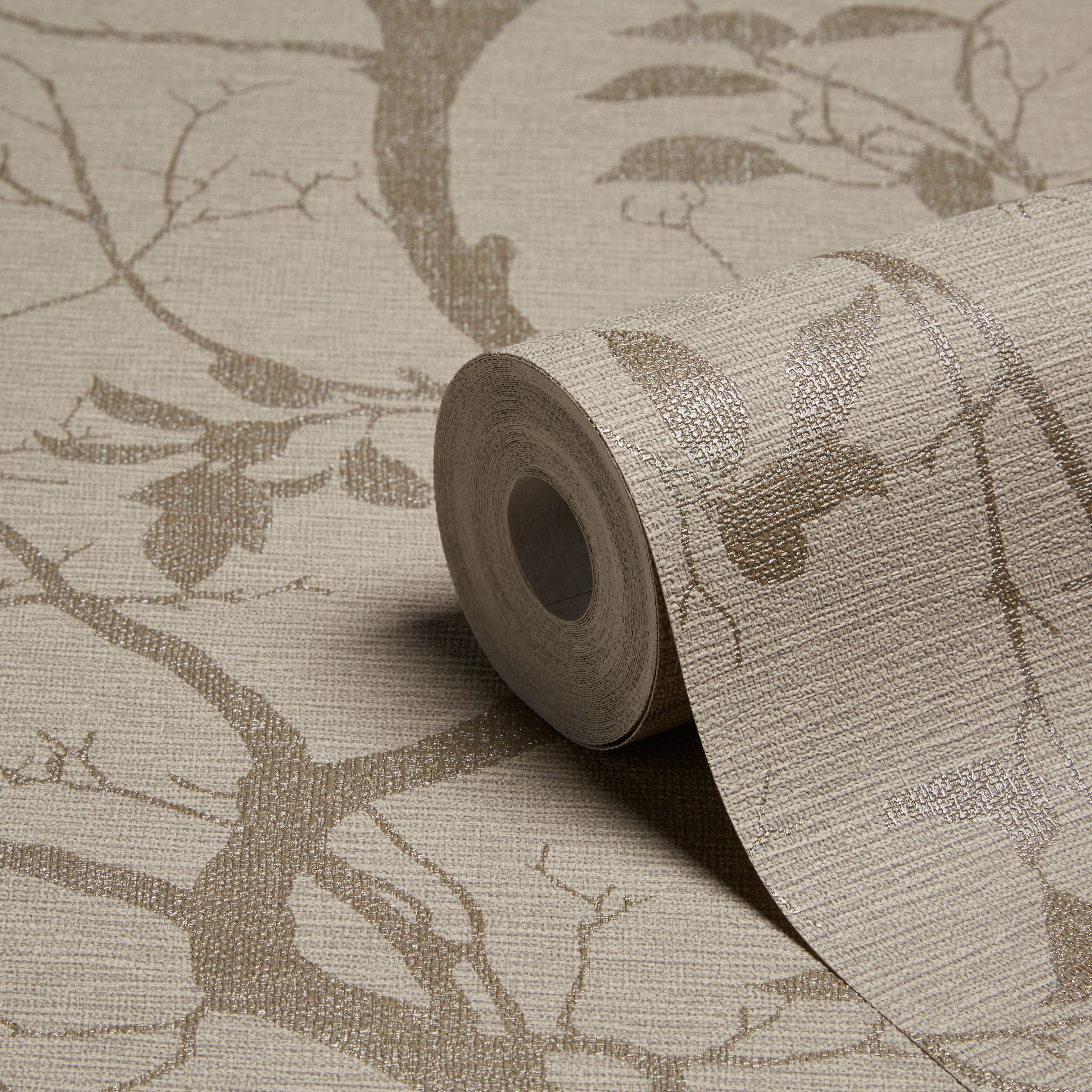 Marino Trail Mocha Foliage Mica Wallpaper Departments