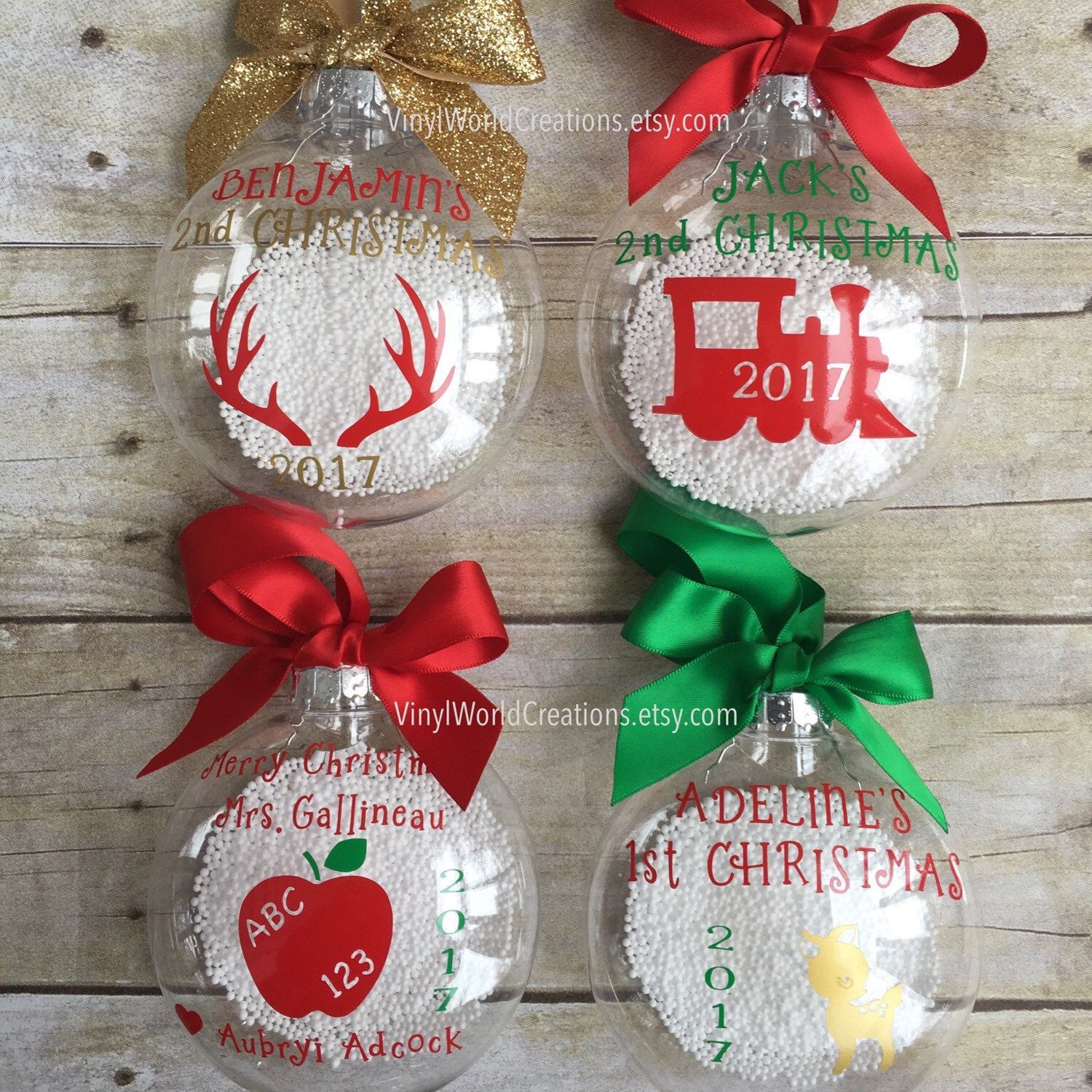 Excited To Share My Latest Listing Set Of 4 Christmas Ornaments Variety Pack Cricut Christmas Ideas Disney Christmas Decorations Teacher Ornaments