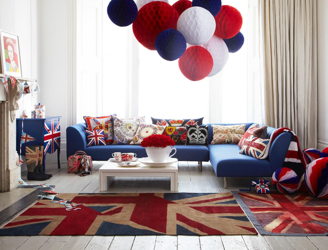 homes: jubilee jubilation - interactive | british themed bedrooms, british decor, room london