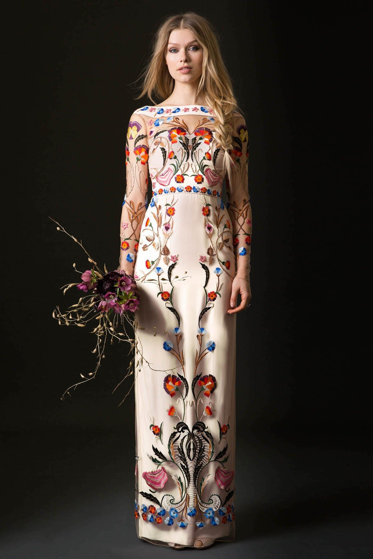 91848e2d310 A colourful embroidered illusion sleeve wedding dress by Temperley Bridal