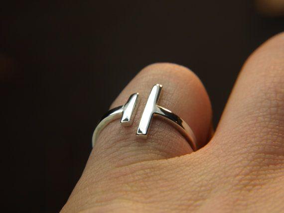 Parallel bar ring, silver simple statement ring - modern bar ring ...