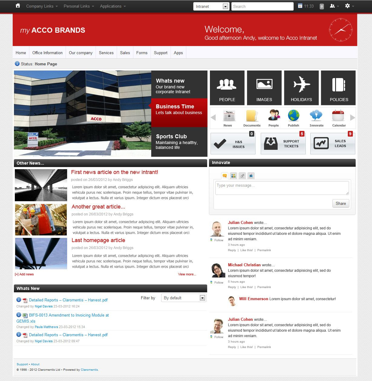 Intranet homepage design with a focus on sharing news