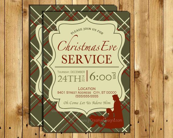 Christmas Eve Service Invitation Christmas Eve Invite Candle