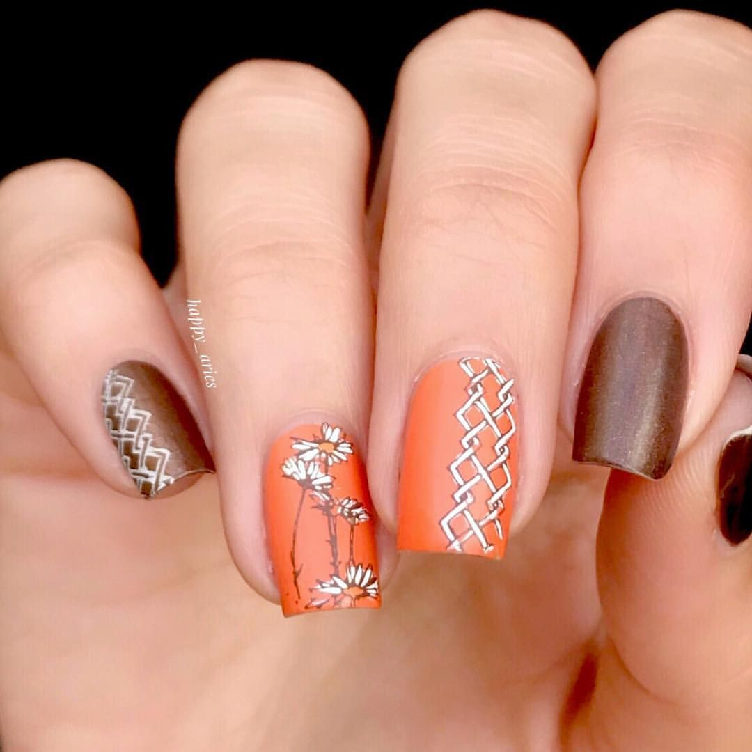 Double Stamped Fall Nails Orange White And Brown Nails Jessica Cosmetics Gorgeous Nails