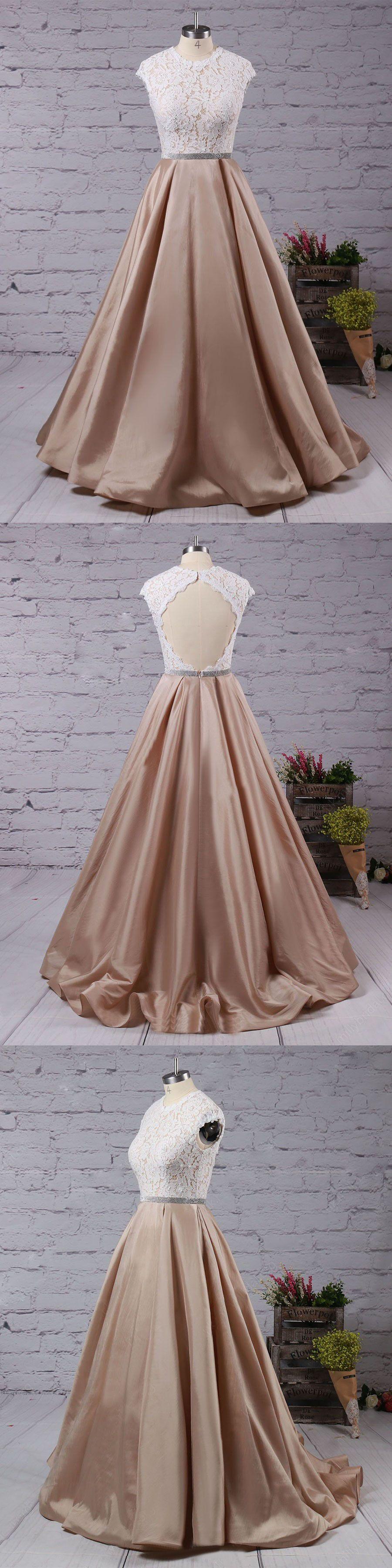 Chic lace prom dress modest a line cheap long prom dress vb