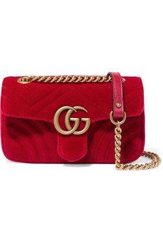d4f91cd5e Gucci - GG Marmont mini quilted velvet shoulder bag | Moda in 2019