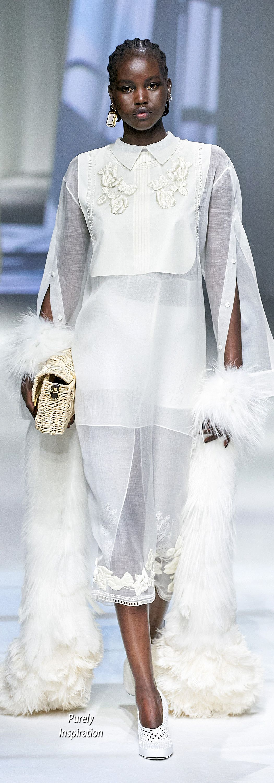 Fendi Spring 2021 Purely Inspiration Fashion White Dress Dresses [ 3000 x 1050 Pixel ]