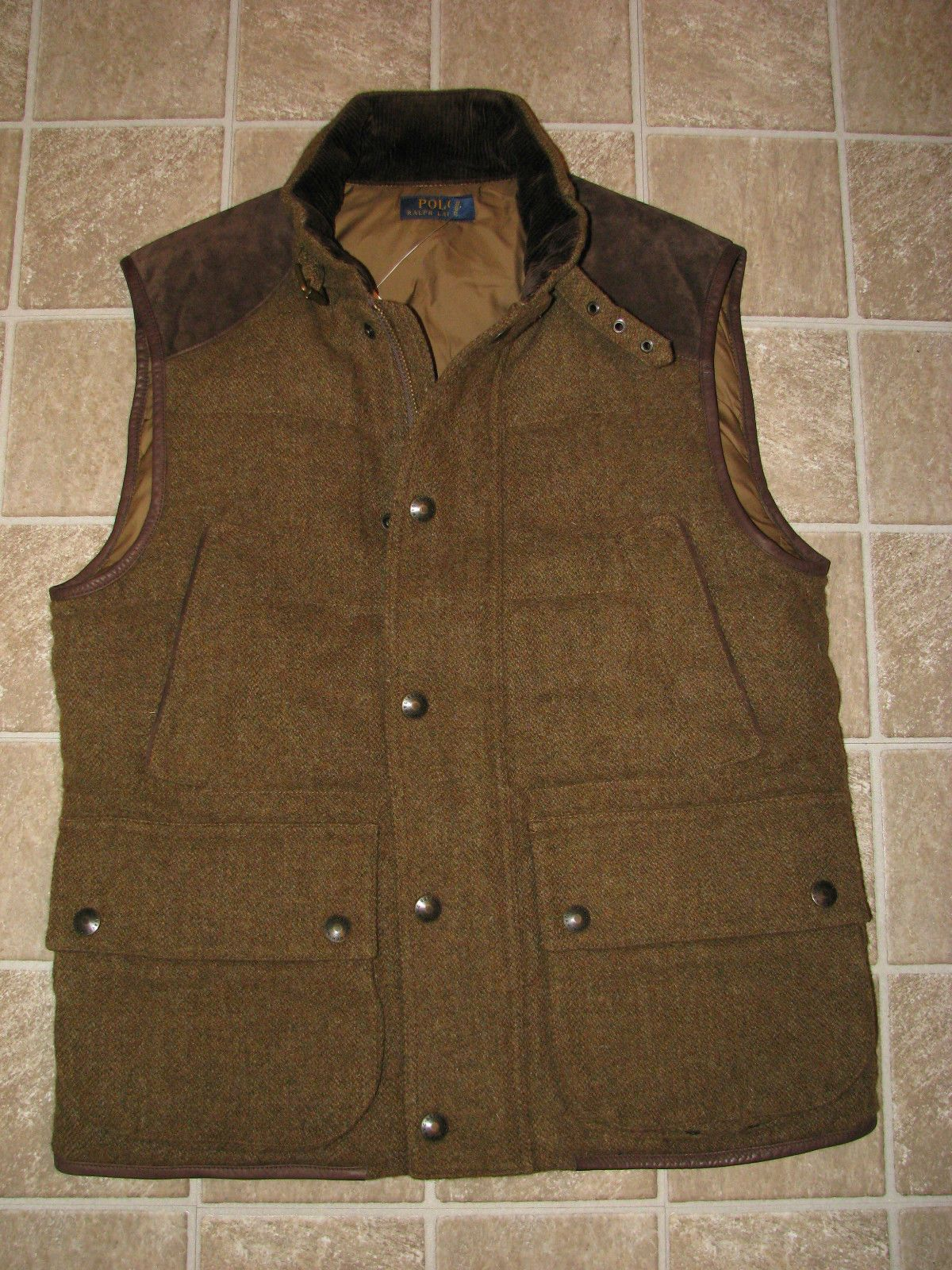 Leather Brown Olive Trim Tweed With Ralph Wool Down Vest Polo b6gyvY7f