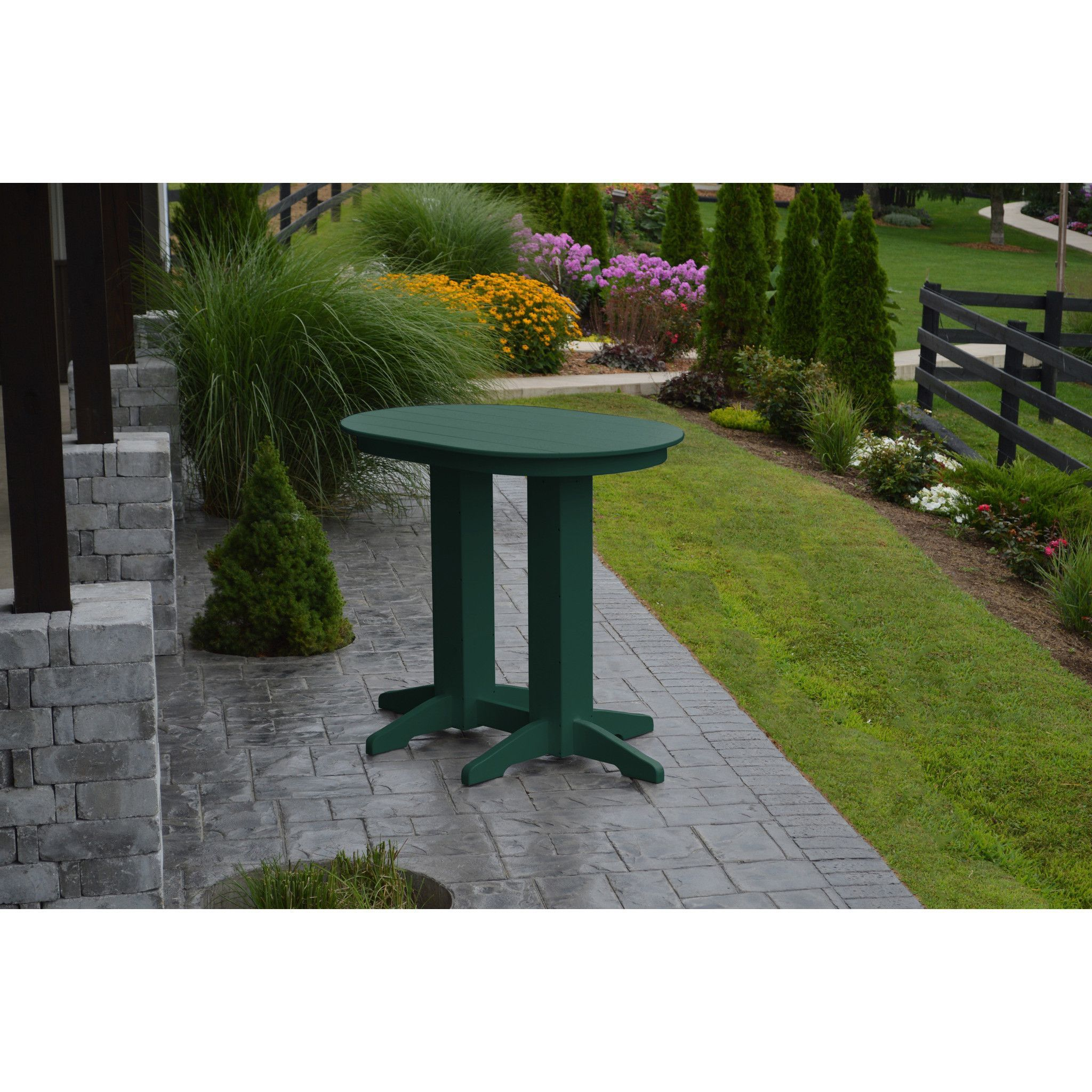 A & L Furniture Recycled Plastic 4' Oval Bar Table