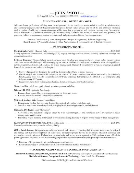 sample analyst resume business analyst resume sample 17 best images