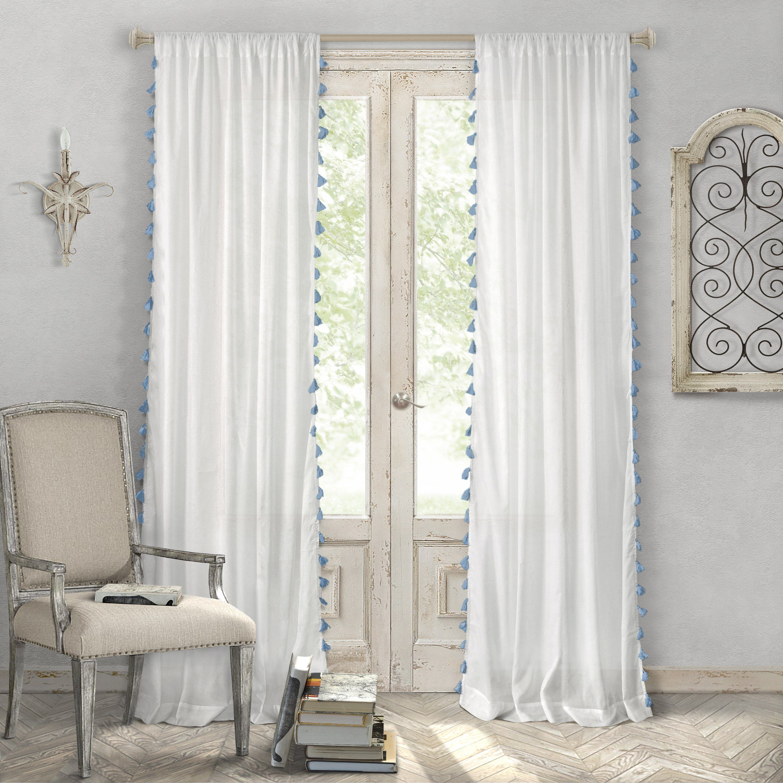 Bianca Semi Sheer Window Curtain With Tassels White Paneling Panel Curtains Tassel Curtains