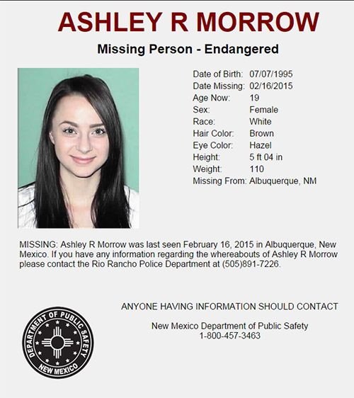 Missing Person u2013 Endangered u2013 Ashley R Morrow New Mexico - missing person picture