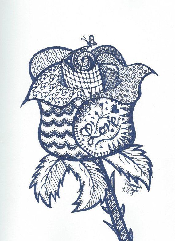 Rose Zentangle Print By Zentangleandjewelry On Etsy Zentangle