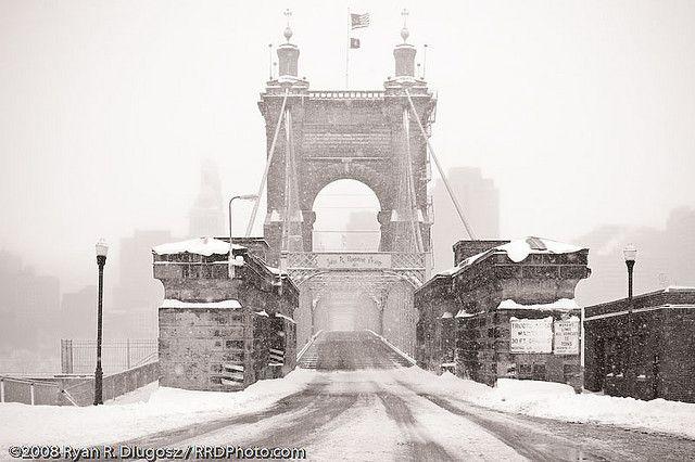 Roebling Suspension Bridge In Blizzard Cincinnati Ohio Ohio