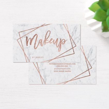 Makeupartist businesscards makeup faux rose gold script makeupartist businesscards makeup faux rose gold script geometric marble business card reheart Image collections