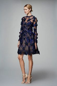 ad9816736a3d Marchesa Notte Navy Long Sleeve Floral Party Dress N13C0299 | My ...
