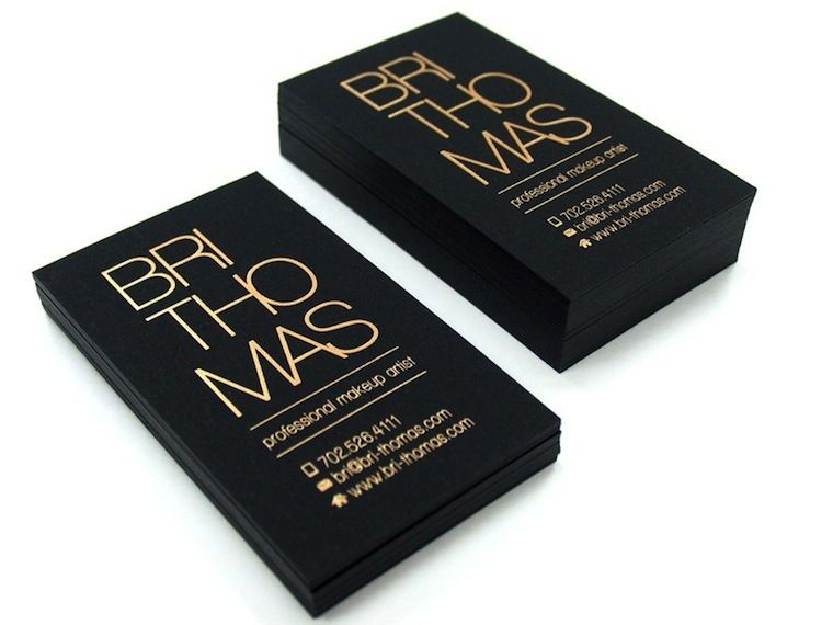 Bri Thomas Matte And Gold Business Cards Black Business Card