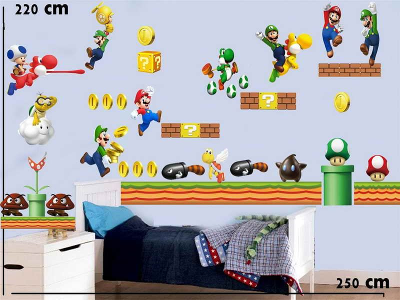 Awesome Decoration Of Super Mario Bros Wall Decals With The Dragon Part 95