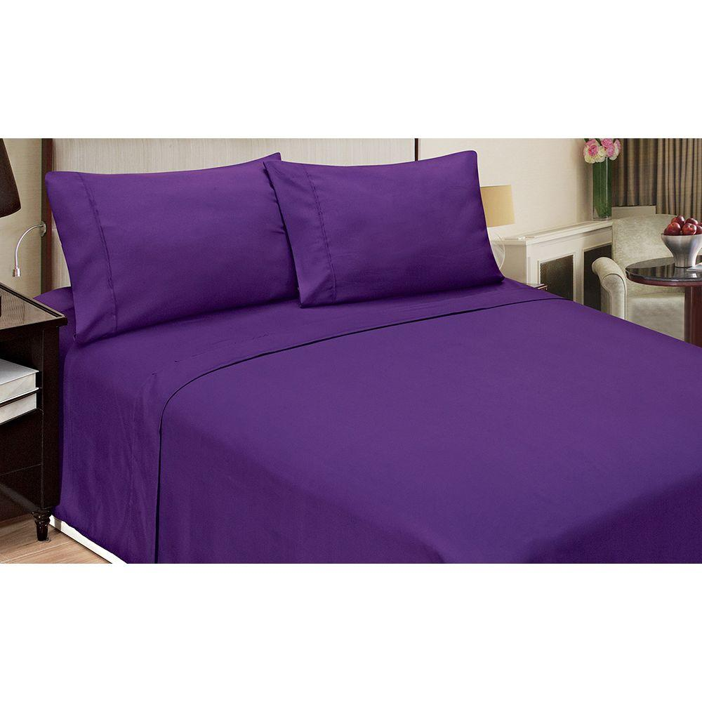 Size White Royale Home 200-Thread Count Cotton Bed Sheet Set Full