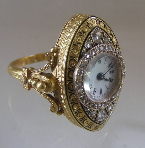 Gold Watch Ring Antique Gold Watch Ring With Enamel And