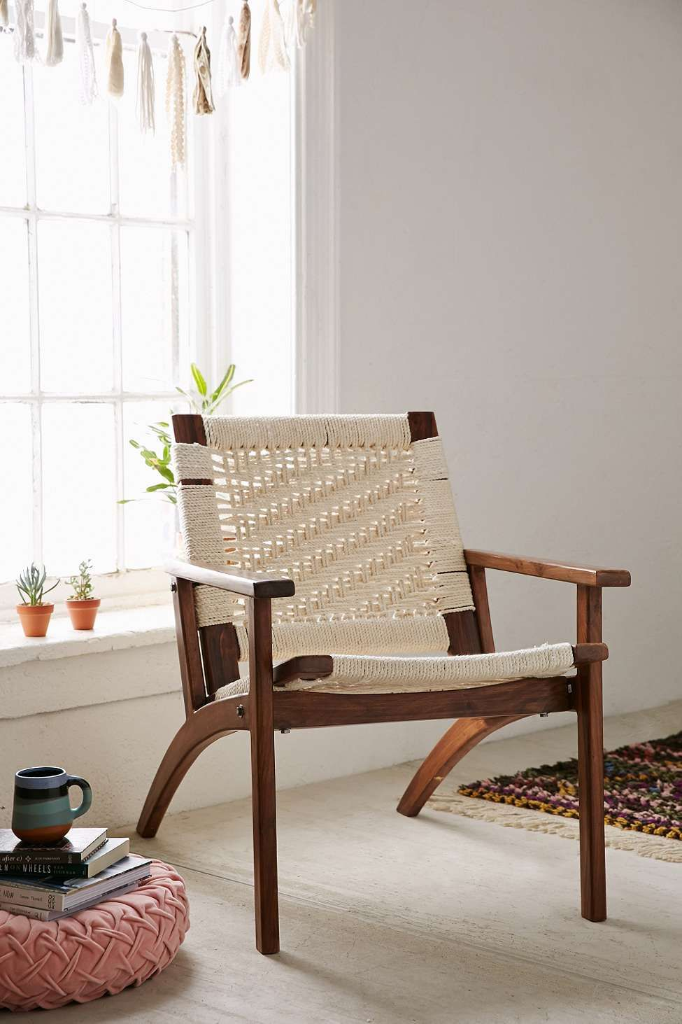 Woven White Lounge Chair | White lounge, Sitting rooms and Furniture ...