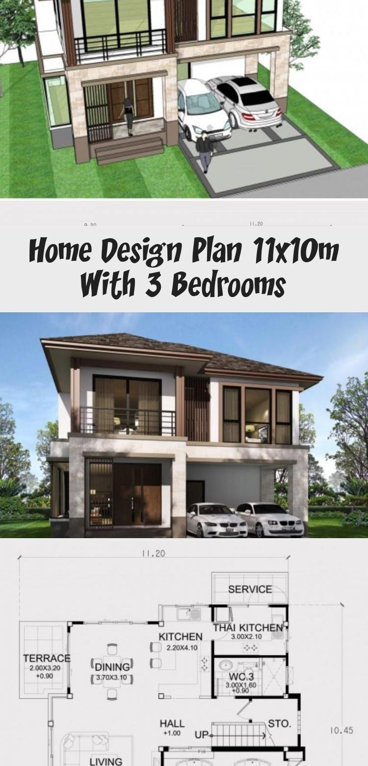Home Design Plan 11x10m With 3 Bedrooms Home Ideas Modernhouseexteriorwhite Modernhouseexteriorgate In 2020 Modern House Plans Home Design Plan Small Modern Home