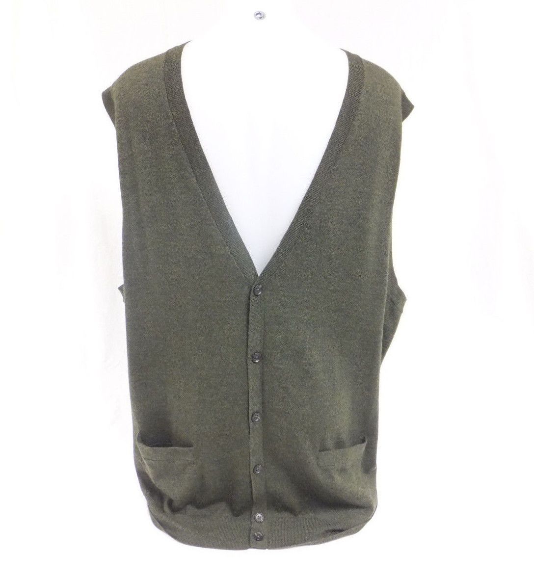 Nordstrom NWT Mens Sweater Vest XXL 2XL Solid Green 100% Merino ...