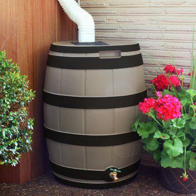 Good Ideas 50 Gallon Rain Barrel Color Khaki Rain Barrel Small