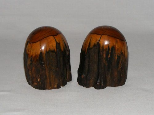 Vintage Mid Century Modernism Carved Burl Wood Salt Pepper Shaker Set | eBay-grants_decorative_arts