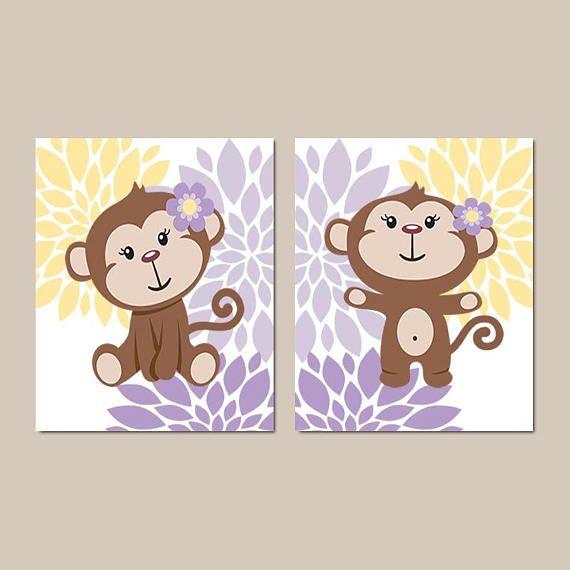 Monkey Wall Art Nursery Decor