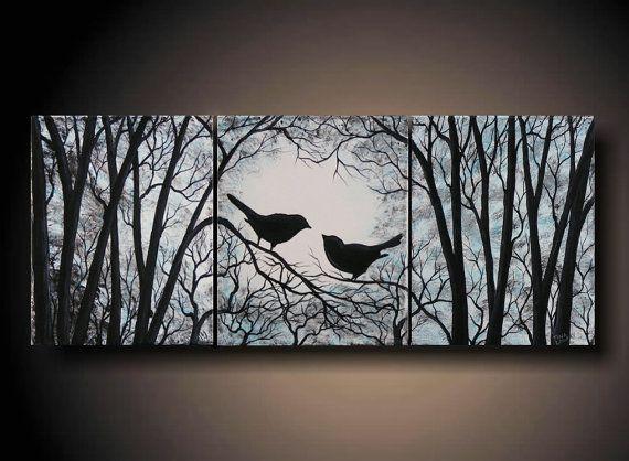 3 Piece Wall Art Love Birds On Tree Three 8 X 10 By Artbysimplyme 95 00 Easy Canvas Painting Three Canvas Painting Canvas Painting