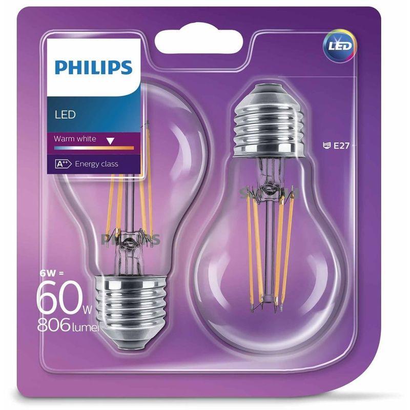 Philips Ampoule Led 2 Pcs Classique 6 W 806 Lumens 929001237271 Led Led Tubes Bottle