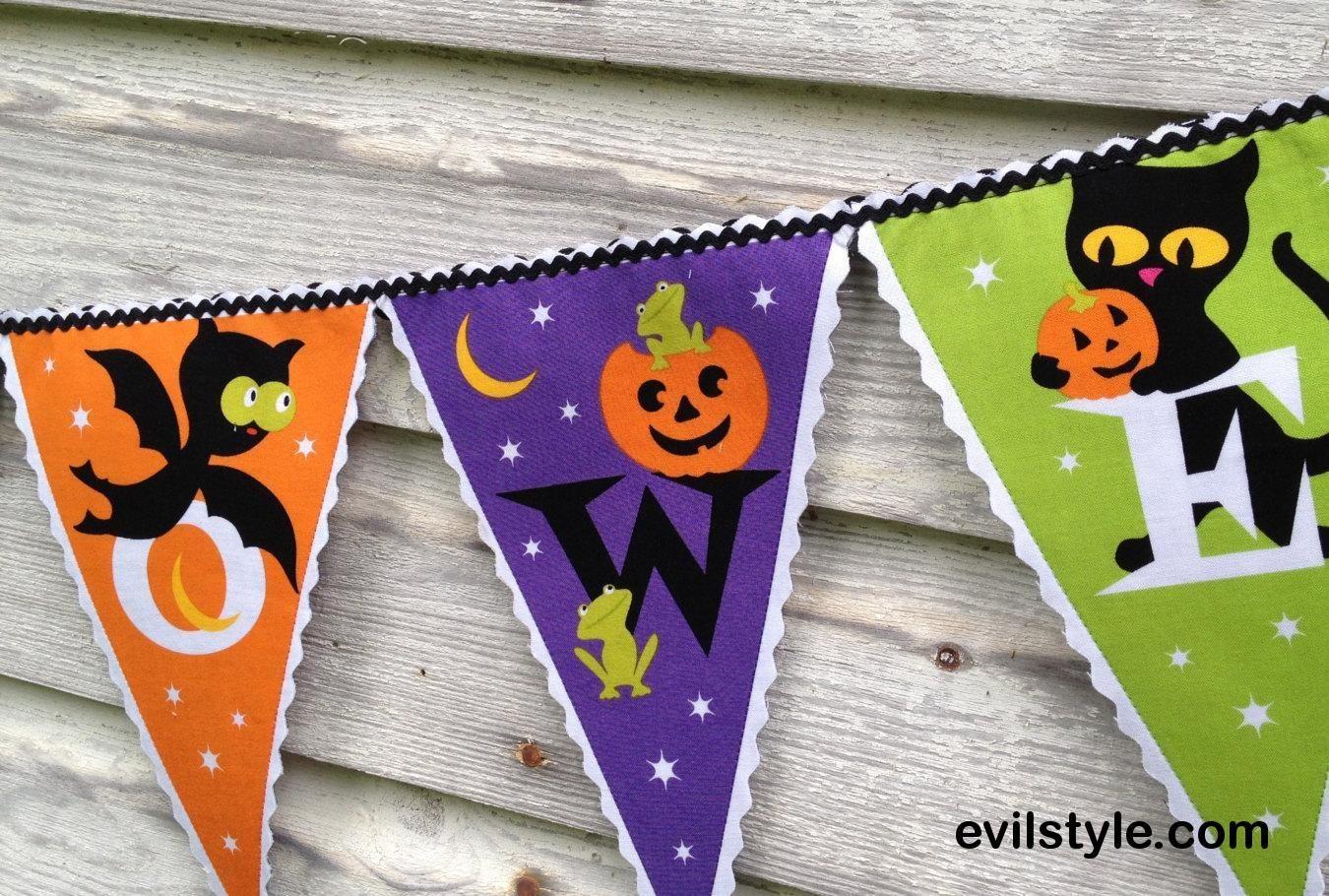 Halloween Banner, Halloween Decor, Fabric Banner, Handmade Bunting, Pumpkin Patch, Halloween Party Decoration - http://evilstyle.com/halloween-banner-halloween-decor-fabric-banner-handmade-bunting-pumpkin-patch-halloween-party-decoration